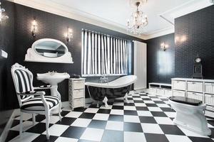 vitt och svart modernt badrum foto