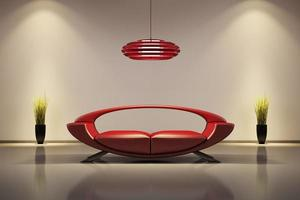 interiör med röd soffa 3d foto