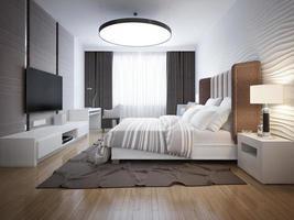 ljus design av modernt sovrum foto