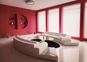 vardagsrum med vita soffor interiör 3d render