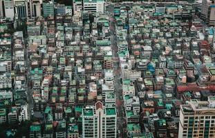 högvinkelfoto av byggnader i Seoul foto