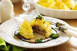 bakat kött med svamp i potatismos. foto