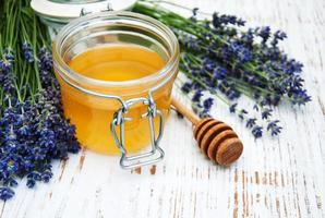 honung och lavendelblommor foto