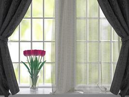 tulpaner på en fönsterbräda. foto