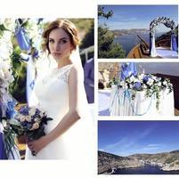 vacker brud i lyxig klänning och bröllopdetaljer foto