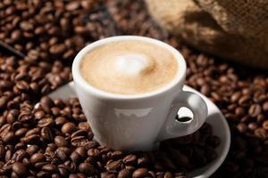 närbild av en cappuccino eller kaffe med mjölk