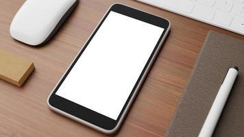 smartphone mockup på skrivbordet foto