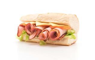 skinka och ost sub sandwich foto