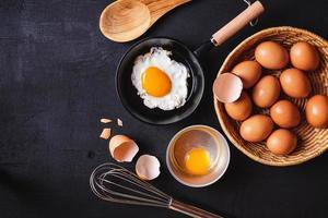 stekpanna med ägg foto