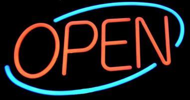 neon öppet tecken