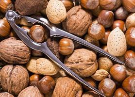 blandade nötter och nötknäppare foto