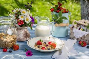 frukost med havregryn, frukt och mjölk foto