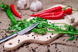 röd chilipeppar och kryddor på skärbräda. foto
