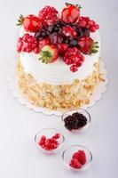 fruktkaka på vitt foto