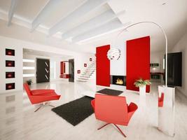 modern lägenhet interiör 3d framför foto