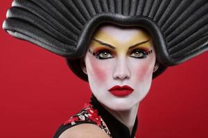 närbild vacker modern geisha flicka foto