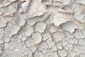 närbild sprucken jord och skalning foto