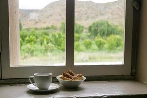 kaffe och skorpor foto