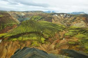 mångfärgade berg vid landmannalaugar,