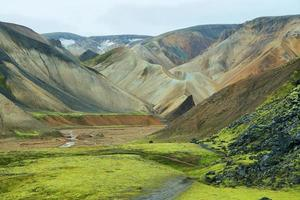 mångfärgade berg vid landmannalaugar