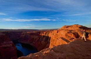 solnedgång vid hästskobandet, Grand Canyon foto