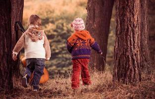 barn som har kul i höstskogen
