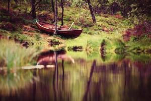 sjölandskap med grön skog i norge