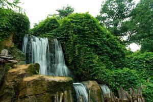 vattenfall i skog mot vit himmel foto