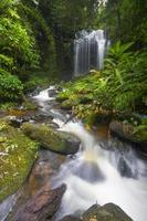 vattenfall i djup skog av Thailand. foto