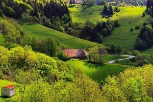 naturskönt sommarlandskap med pittoresk bergsby foto