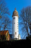 berömda medeltida hoechster schlossturm i frankfurt foto