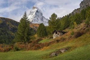 schweizisk fjällstuga foto