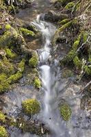 litet vattenfall i jungfrulig natur foto