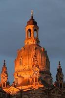 dresden frauenkirche vid solnedgången