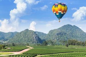 varmluftsballong över berget och teplantagen foto