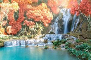 vackert vattenfall med mjukt fokus och regnbåge i skogen foto