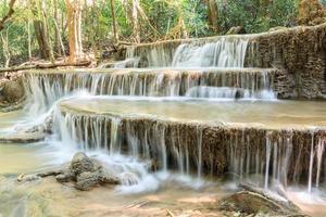 vattenfall i djup tropisk skog på sommaren, huay mae kamin