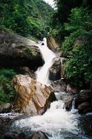 vattenfall och klippdamm i regnskog