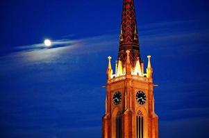 kyrka och måne foto