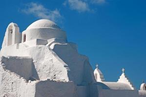 berömd kyrka paraportiani på mykonos ö, Grekland foto