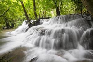 blå ström vattenfall i Kanjanaburi Thailand (Huaymaekamin vattenfall)