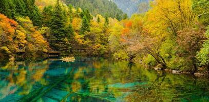 höst i jiuzhaigou nationalpark, sichuan, porslin