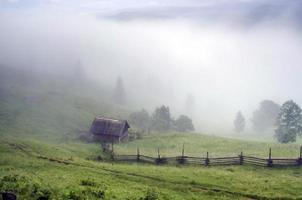 kvälls bergsplatålandskap (Karpaterna, Ukraina)