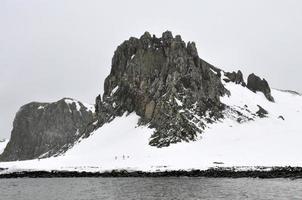 snötäckta svart berg foto
