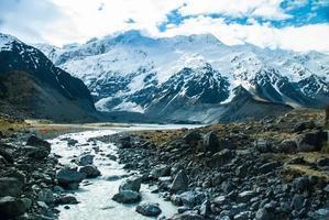 vacker utsikt och glaciär i Mount Cook National Park, söder