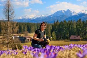 kvinnafotograf och krokusar på våren på ängen, Polen foto