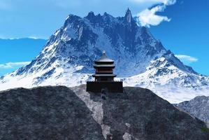 buddhistiskt tempel i berg