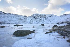 snötäckta berg och sjö