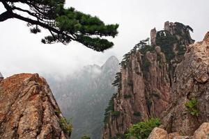 spektakulära stenar och toppar av Huang Shan-bergen