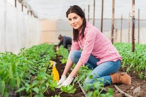 porträtt av gröna hus kvinna arbetare leende